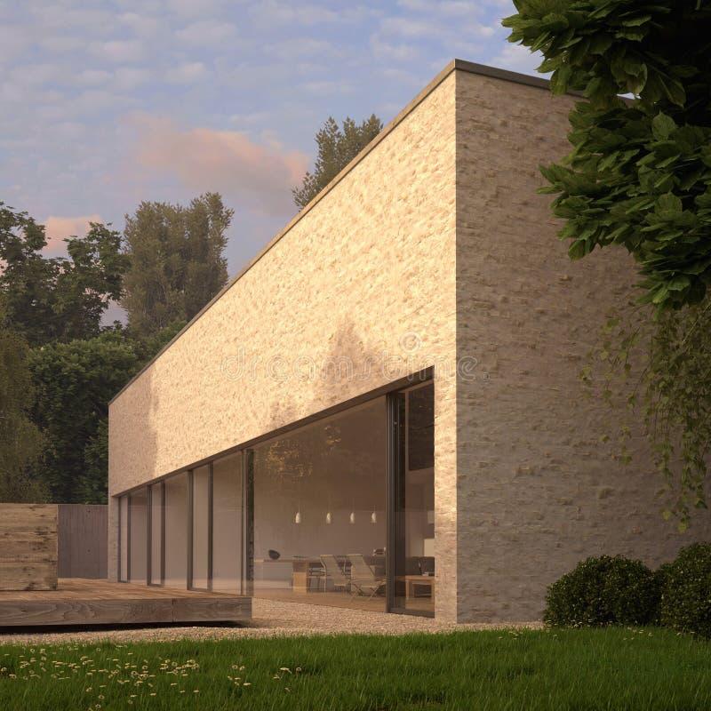 Casa contemporânea do tijolo com jardim ilustração royalty free