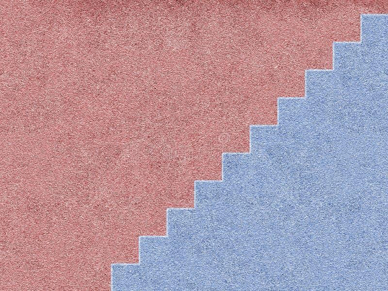 Casa cor-de-rosa e azul com escadas ilustração royalty free