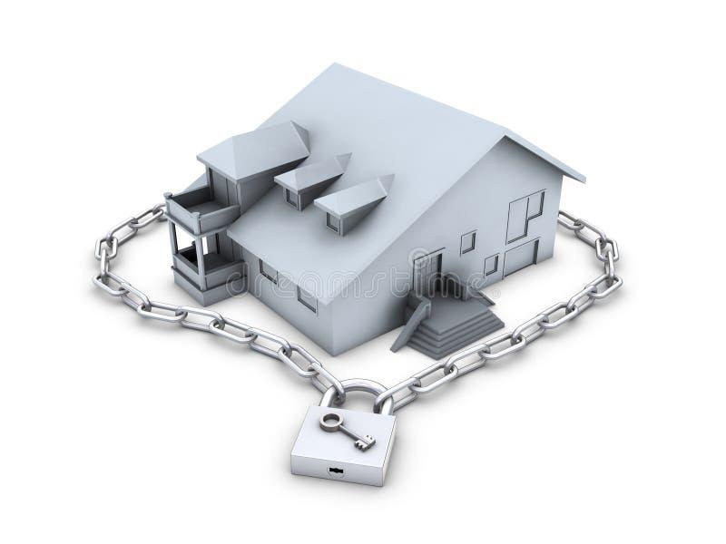 Casa, corrente, cadeado fechado e chave ilustração royalty free