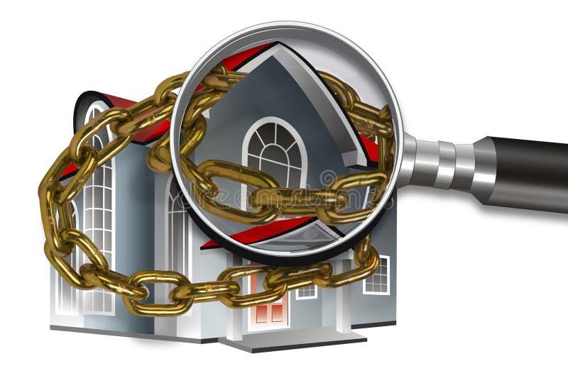 Casa, corrente e magnifier imagem de stock royalty free