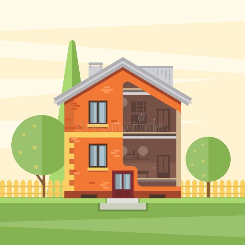 Casa cortada con el interior visible libre illustration