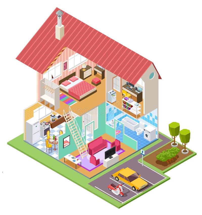 Casa cortante isométrica Seção transversal da construção de habitações com interior do banheiro do quarto da cozinha casa do veto ilustração stock