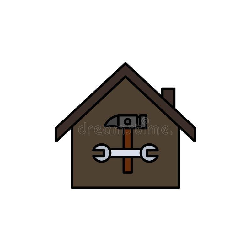 Casa, costruzione, costruzione, riparazione, martello, icona piana di colore della chiave Modello dell'insegna dell'icona di vett illustrazione di stock