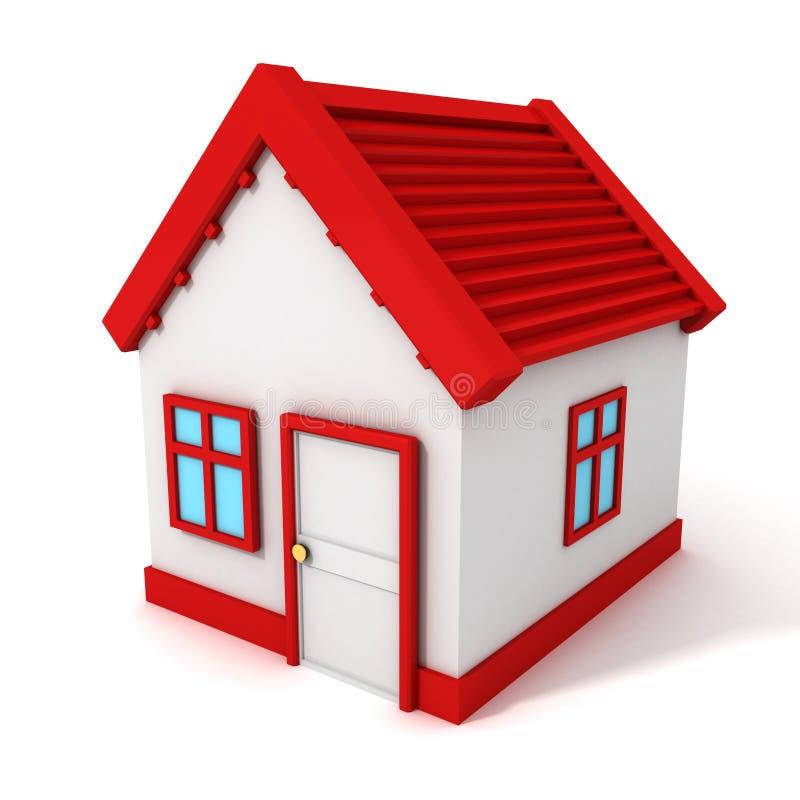 casa 3d com o telhado vermelho no fundo branco ilustração royalty free