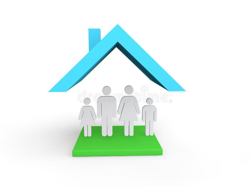 casa 3d con la familia ilustración del vector