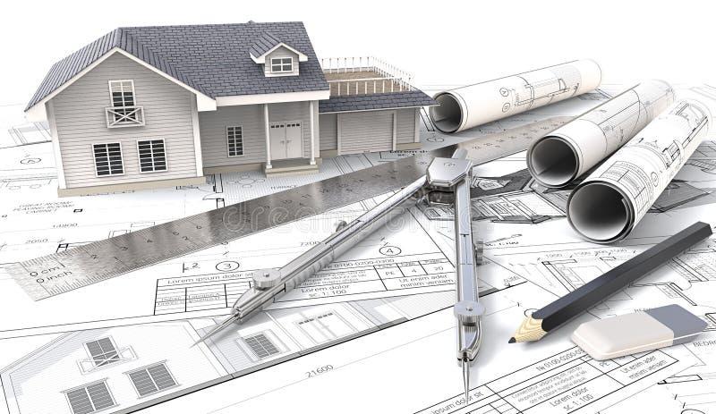 casa 3D en bosquejos y modelos del diseño ilustración del vector