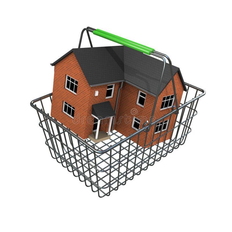 casa 3d en una cesta de compras libre illustration