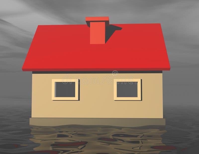 casa 3d que se hunde en agua de inundación stock de ilustración