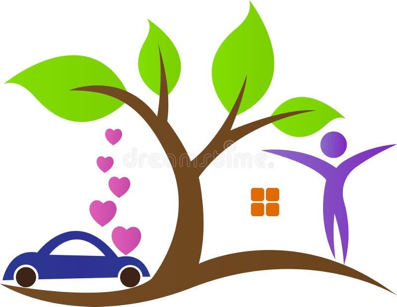 Casa da árvore com carro ilustração royalty free
