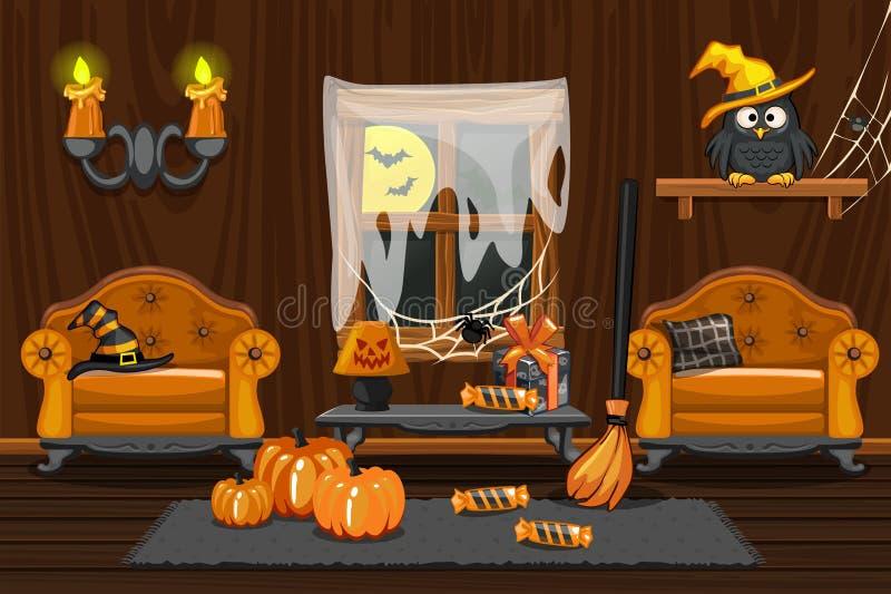 Casa da adega, sala de madeira interior da ilustração com símbolos do Dia das Bruxas e mobílias ilustração do vetor