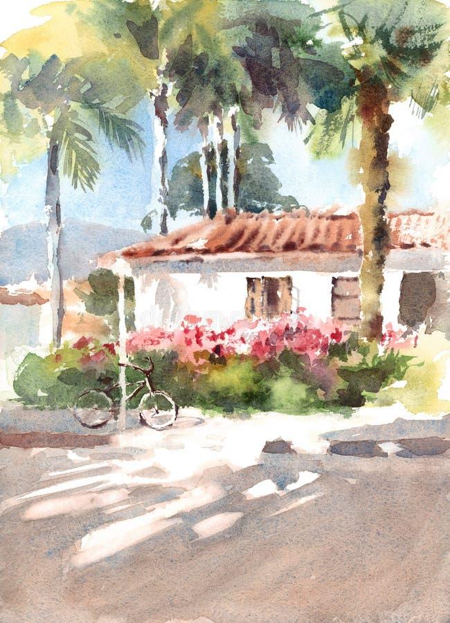 Casa da aquarela com flores e a bicicleta bonitas com palmeiras na ilustração pintado à mão do fundo ilustração do vetor