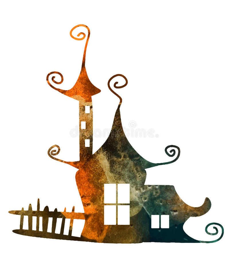 Casa da aquarela da fantasia ilustração royalty free