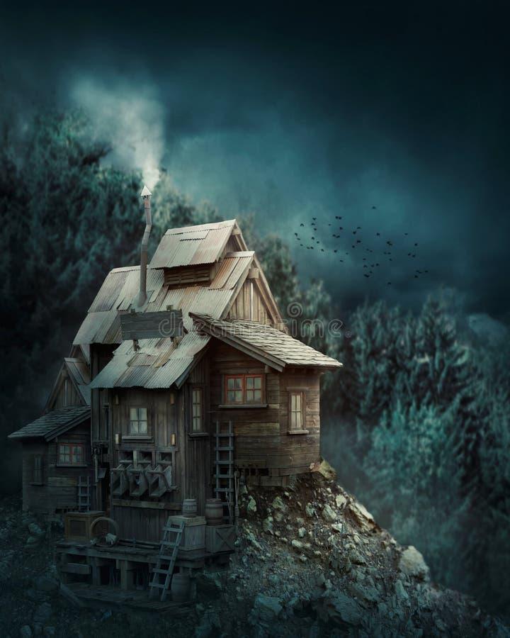 Casa da bruxa na floresta misteriosa fotos de stock