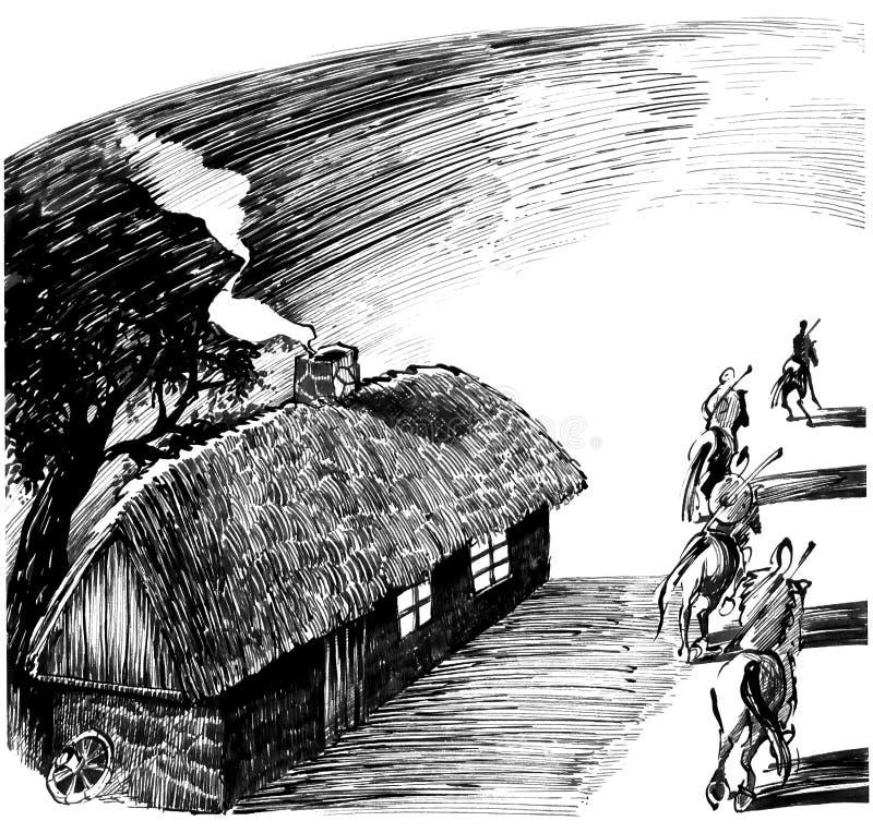 Casa da casa de campo e quatro cavaleiro ilustração stock