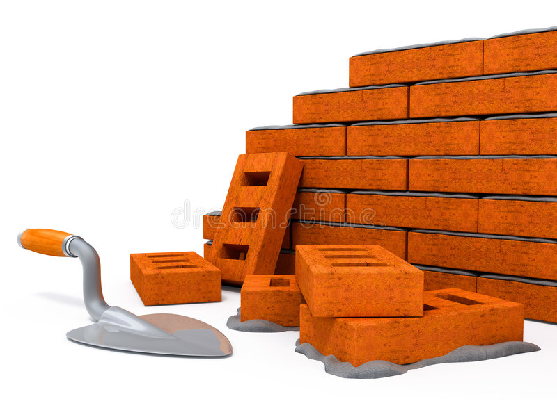 Casa da construção da parede de tijolo ilustração do vetor