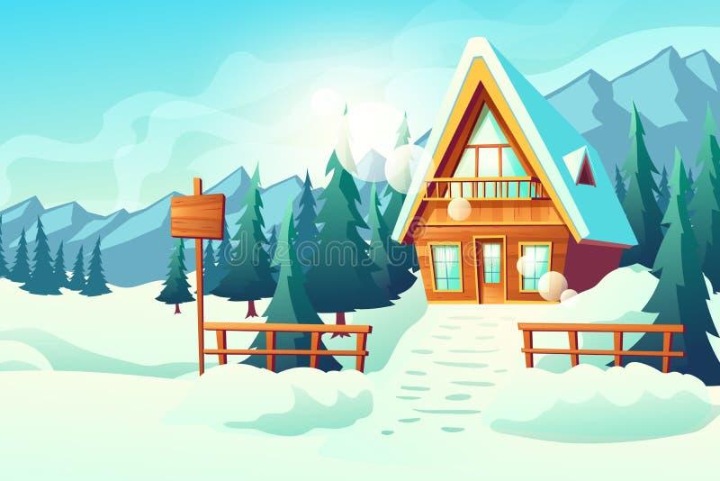 Casa da casa de campo no vetor dos desenhos animados das montanhas do inverno ilustração do vetor