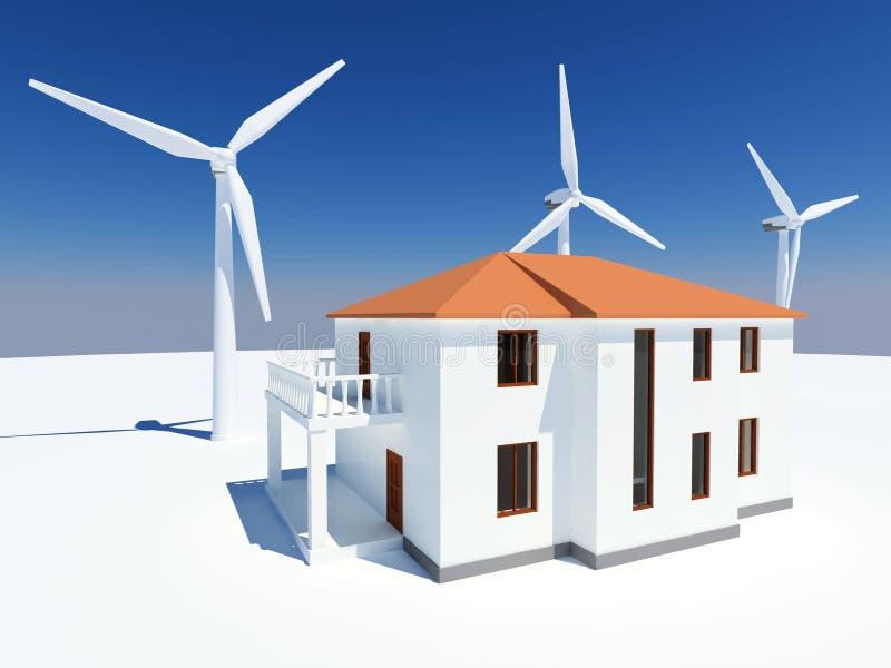 Casa da energia alternativa ilustração royalty free