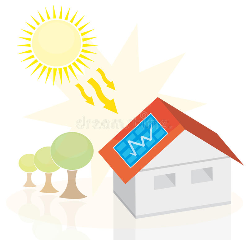 Casa da energia solar ilustração do vetor