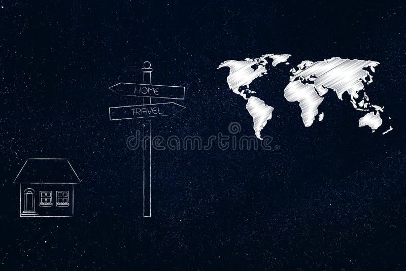 A casa da estada do sinal de estrada ou vai o curso, casa residencial em um lado ilustração stock