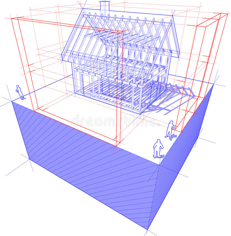 Casa da estrutura com diagrama das dimensões ilustração do vetor