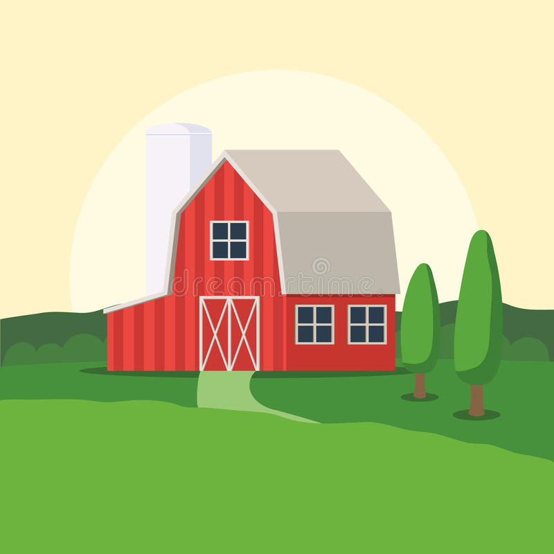 Casa da exploração agrícola e paisagem rural ilustração do vetor