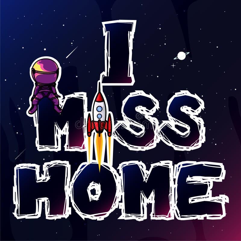 Casa da falta do astronauta ilustração do vetor