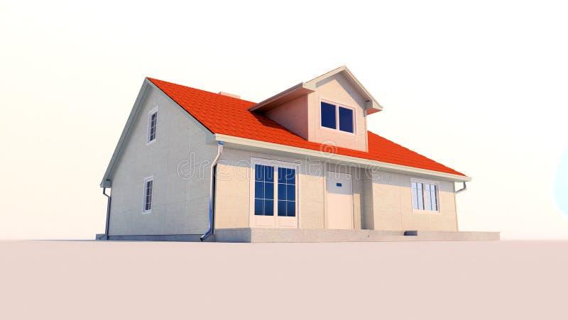 a casa da família 3d isolou o fundo branco no por do sol ilustração stock