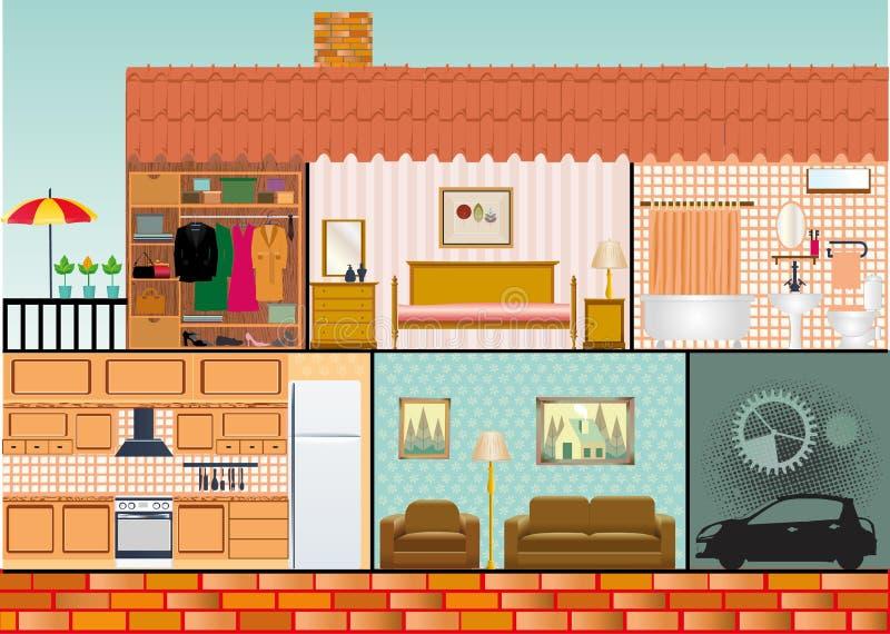 Casa da família dos desenhos animados ilustração stock