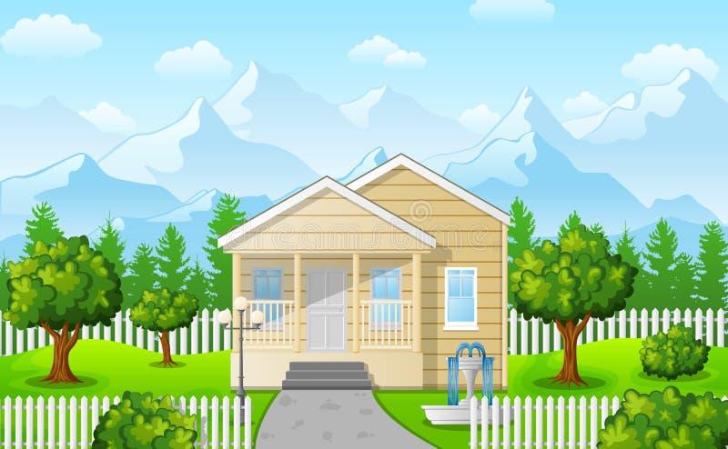 Casa da família dos desenhos animados na montanha contra o fundo do céu azul ilustração stock
