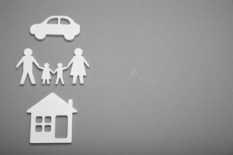 Casa da família e fundo do carro, vida do conforto Conceito do cosiness da casa Copie o espa?o para o texto imagem de stock