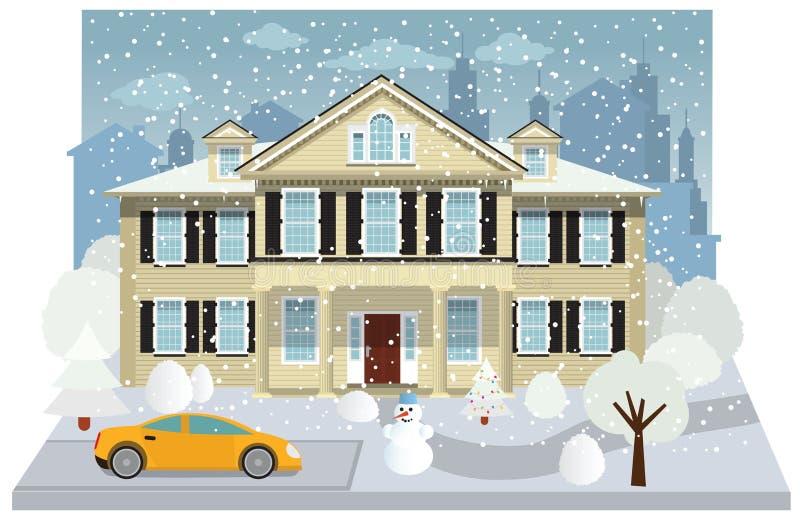 Casa da família no inverno ilustração royalty free