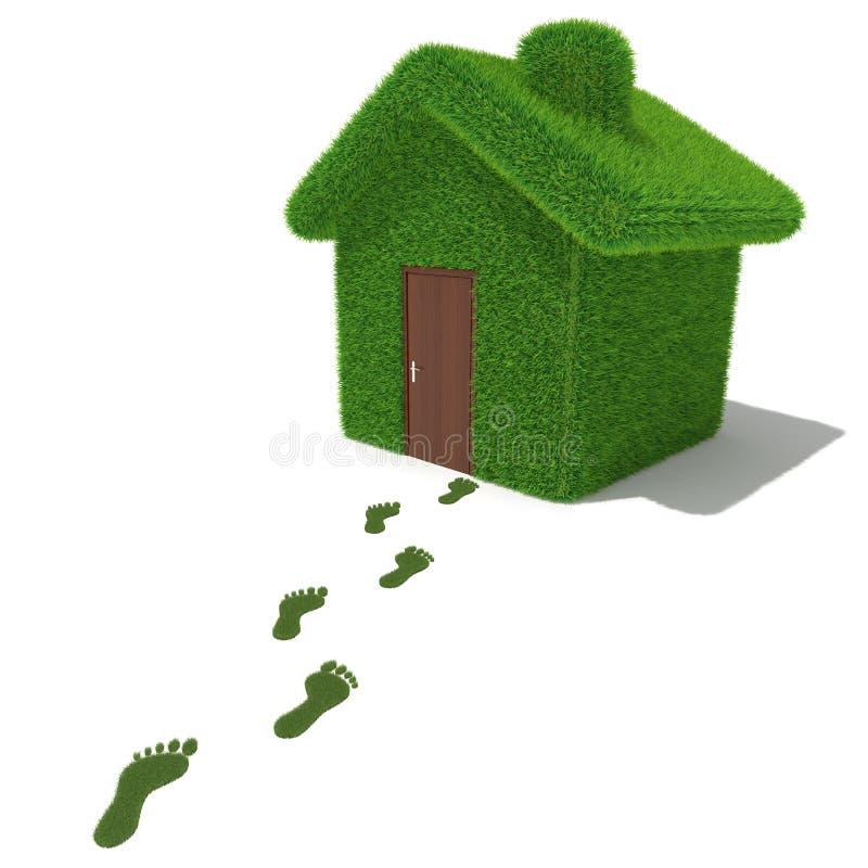 Casa da grama verde com pegadas da grama ilustração do vetor