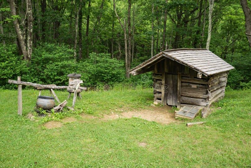 Casa da mola do log nos picos da lontra fotografia de stock