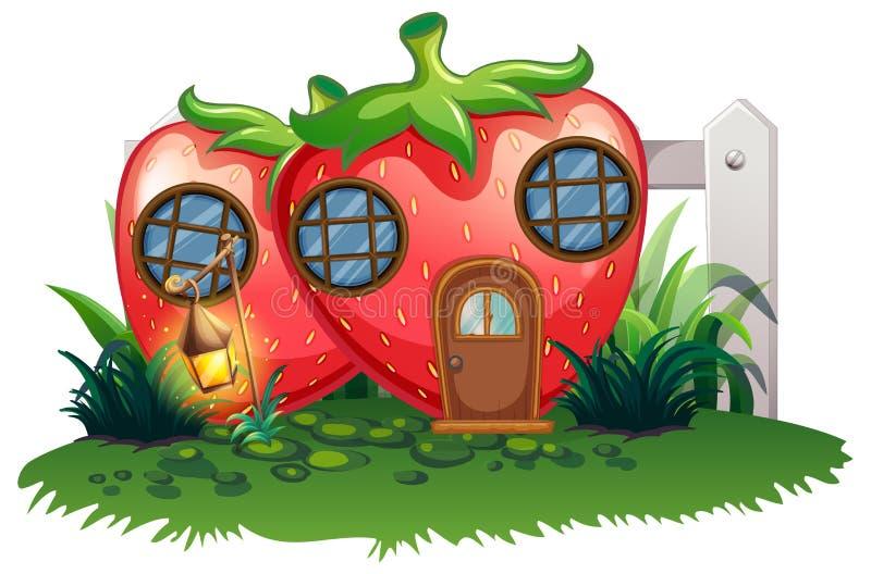 Casa da morango no jardim ilustração royalty free