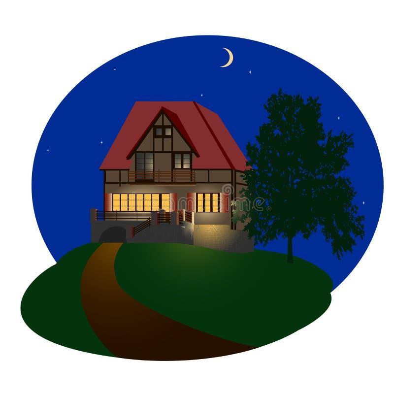 Casa da noite ilustração royalty free