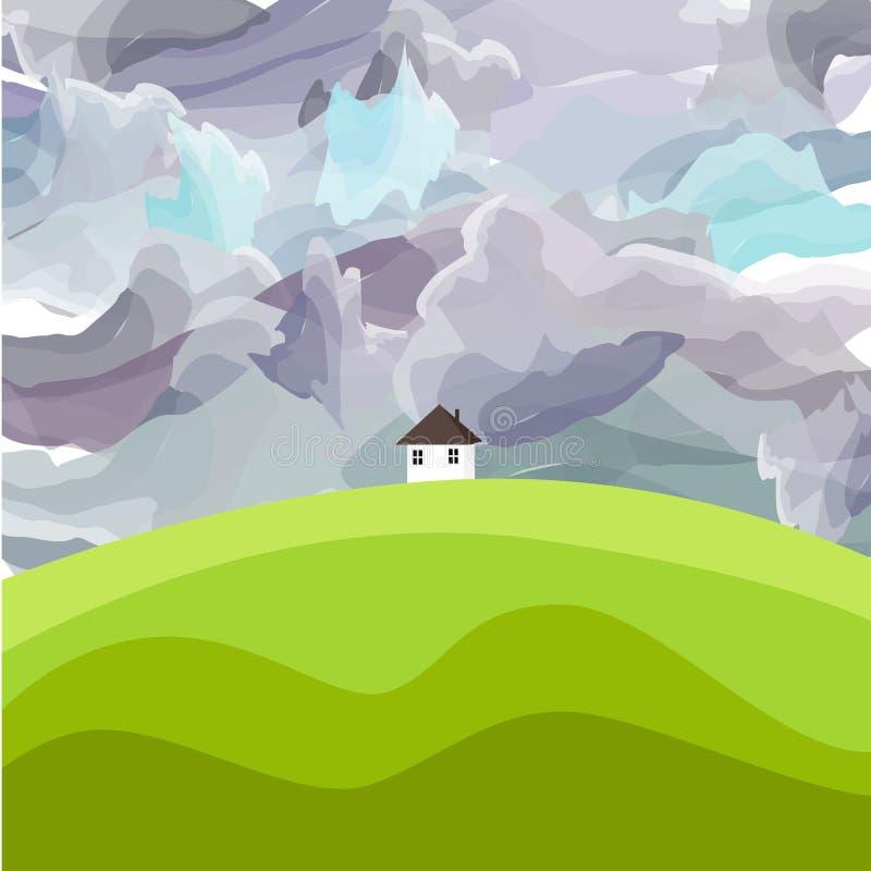 A casa da paisagem da natureza da arte do vetor nubla-se a mola do céu ilustração stock