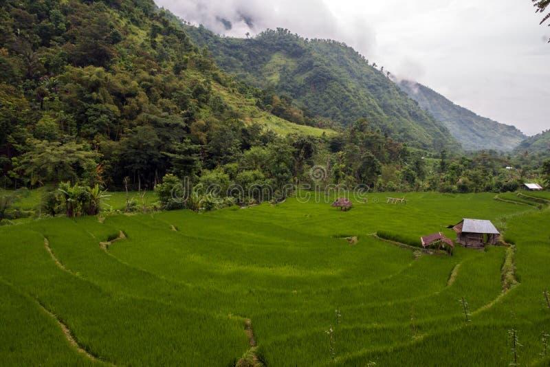 Casa da palha na aldeia da montanha foto de stock royalty free