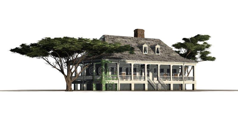 Casa da plantação com pinho de guarda-chuva ilustração stock