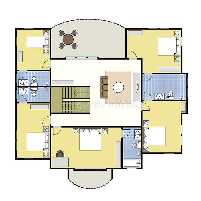 Casa da planta da arquitetura de Floorplan ilustração stock