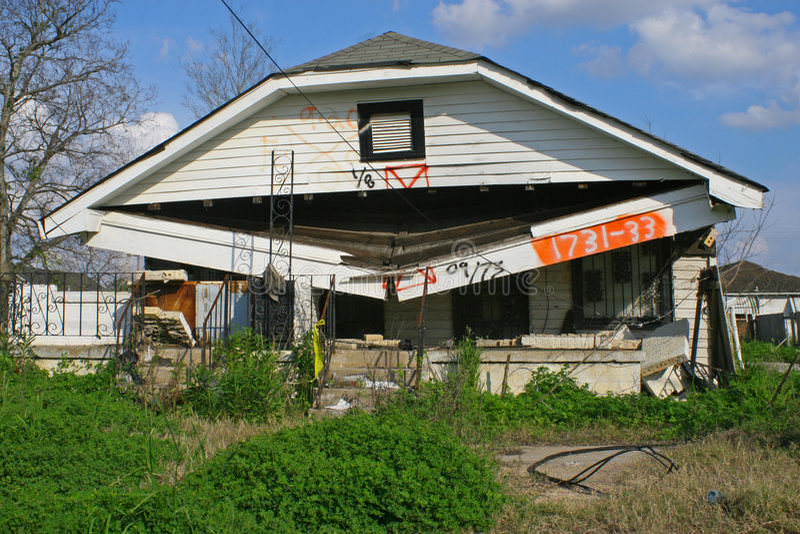 Casa Damanged no furacão Katrina fotos de stock