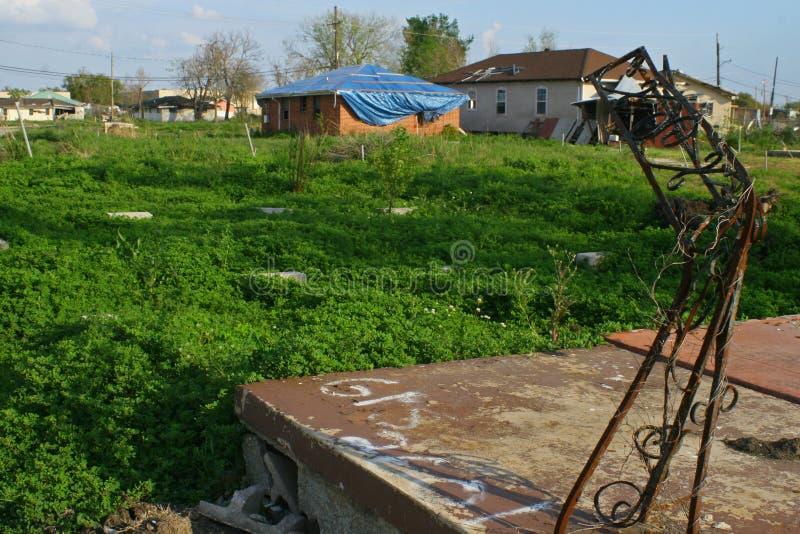 Casa Damanged no furacão Katrina imagem de stock