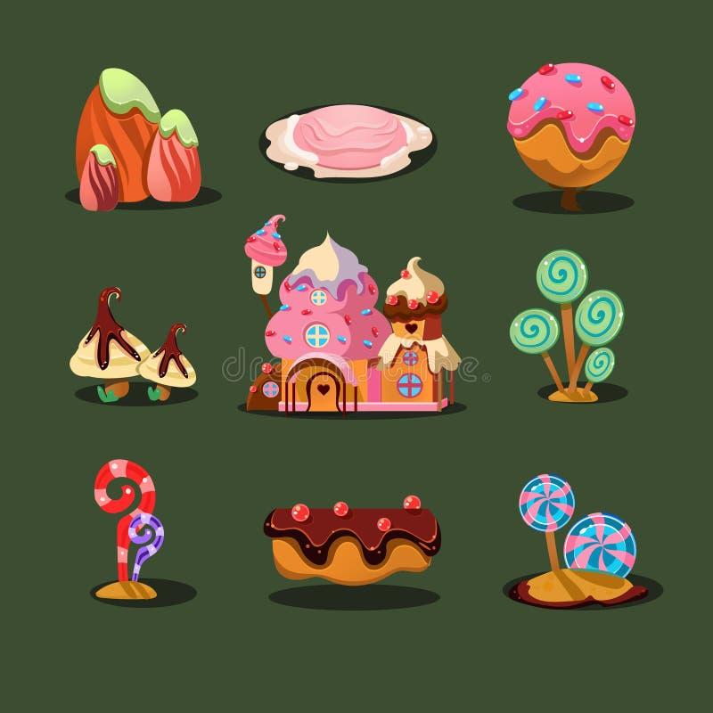 Casa das cookies, doces das ilhas, árvores do caramelo ilustração stock
