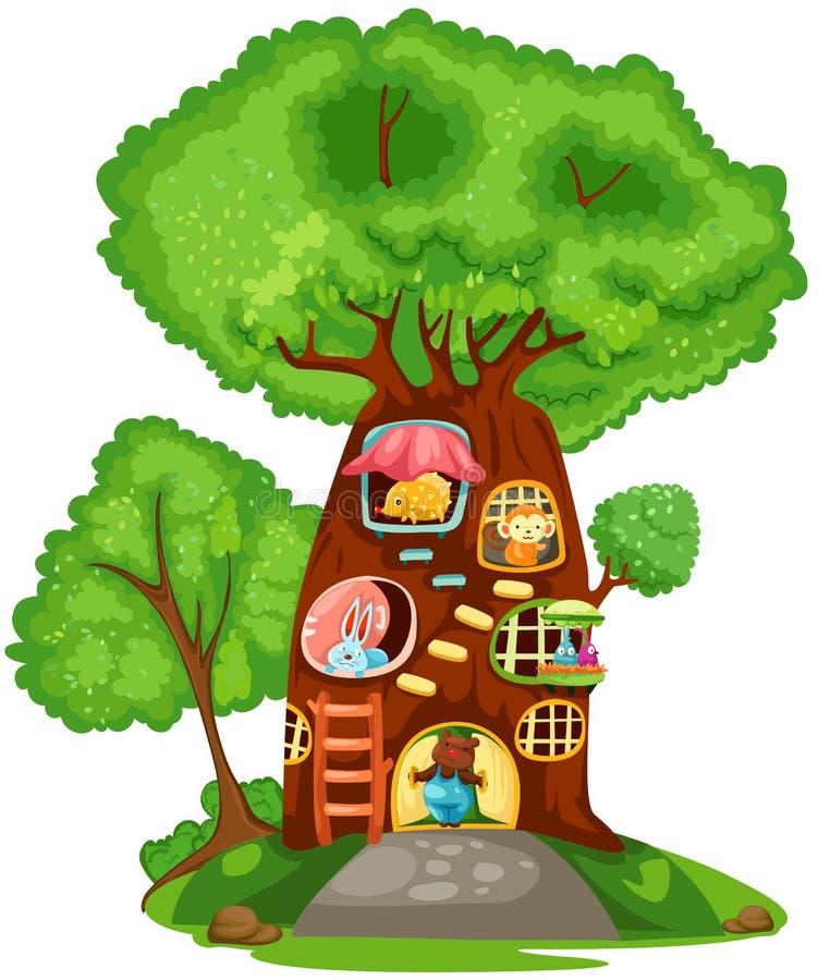 Casa de árbol stock de ilustración