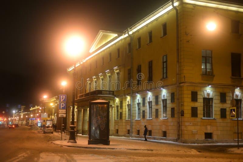Casa de académicos en StPetersburg en la noche del invierno fotografía de archivo