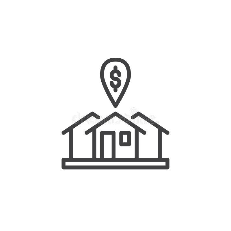 Casa de alquiler con la línea icono de la marca de dólar stock de ilustración