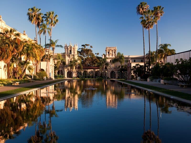 Casa de Balboa y casa de la hospitalidad en la puesta del sol fotos de archivo