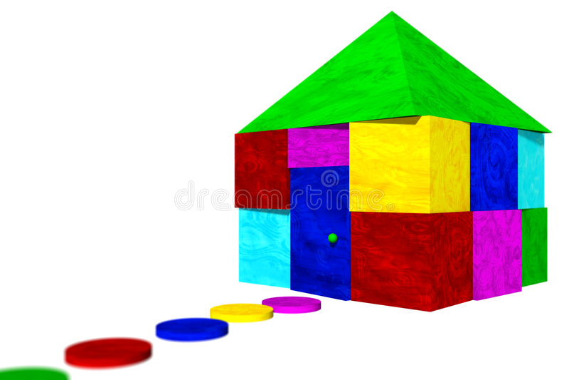Casa de blocos coloridos ilustração royalty free