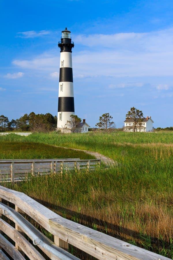 Casa de Bodie Island Light e do depositário foto de stock royalty free