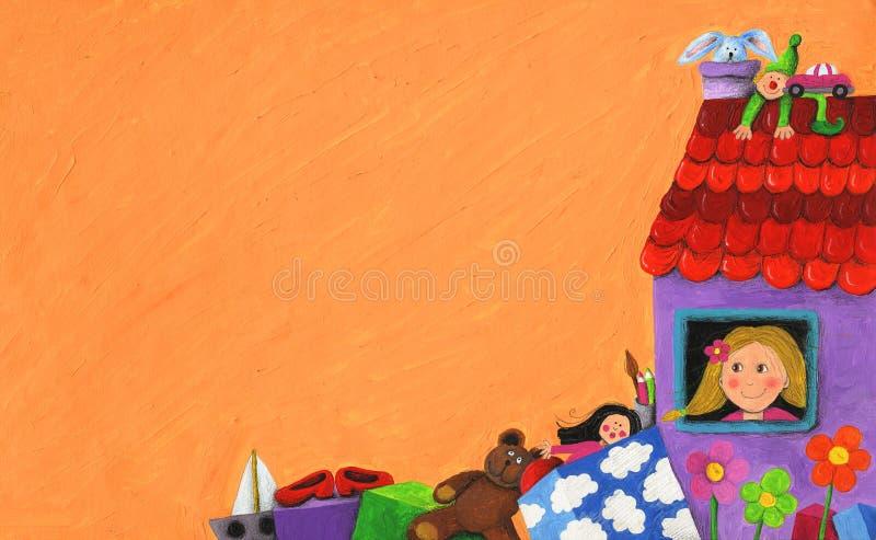 Casa de boneca roxa ilustração royalty free