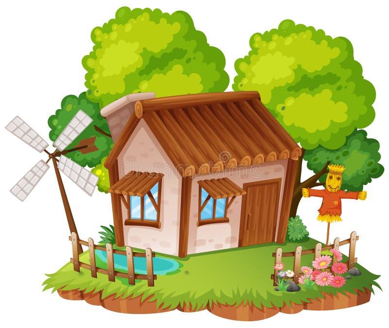 Casa de campo com pouco jardim ilustração royalty free